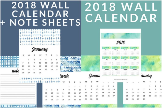 FREE Printable 2018 Calendars - Watercolor and Shibori Options - The