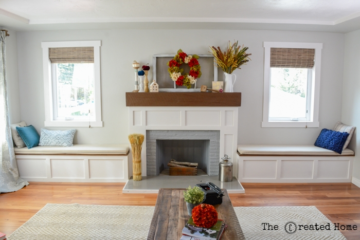 Fireplace Makeover With Built In Window Seats The