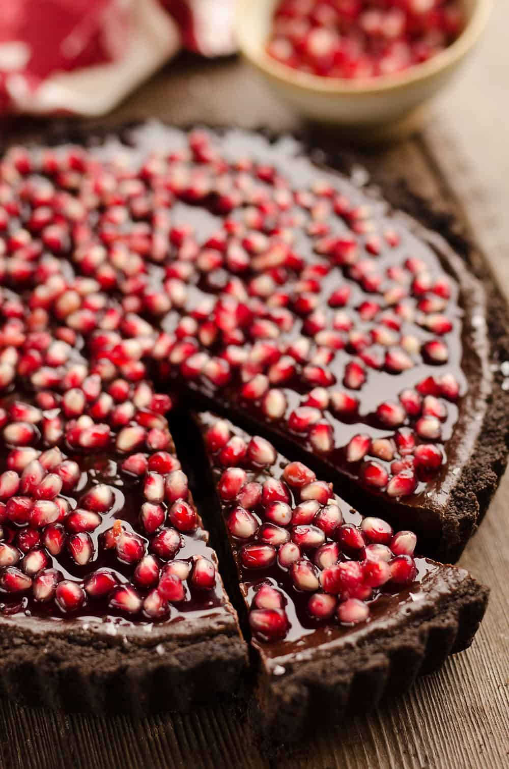Pomegranate Pics Salted Dark Chocolate Pomegranate Tart
