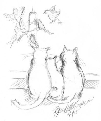 pencil sketch of three cats watching birds