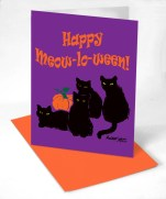 halloween design featuring four black cats