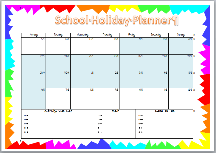 Calendar 2013 Leave Planner Planner Organization A Bowl Full Of Lemons School Holiday Planner Thecreativemummy