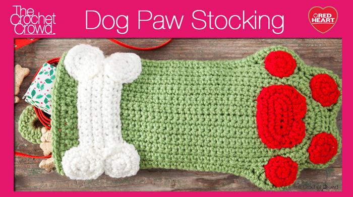Dog Paws Christmas Stocking - The Crochet Crowd