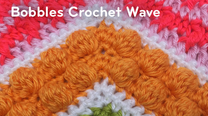 Crochet Wave Stitch : Stitch 5: Bobbles Stitch Crochet Wave Pattern. Represented in Mango in ...
