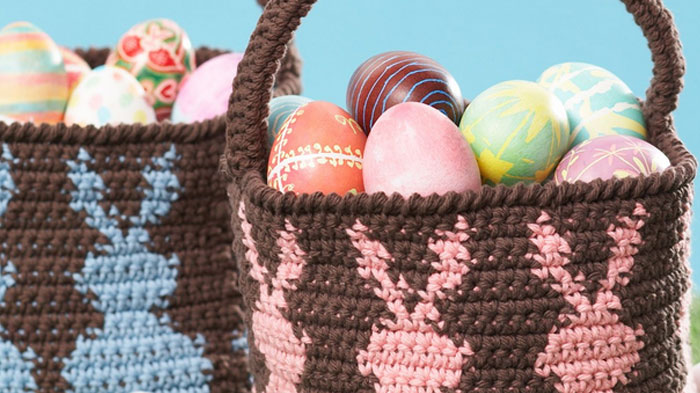 21 Crocheted Easter Basket Patterns - The Crochet Crowd