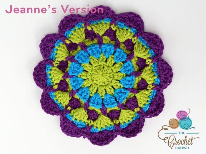 Crochet Stitch Exsc : Crochet Raised Twist Mandala, Crocheted by Jeanne Steinhilber Crochet ...