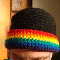 Rainbow Brim Beanie Hat