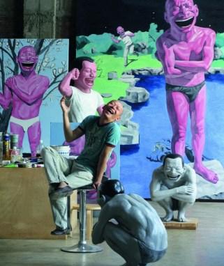 Portrait of Yue Minjun in his studio in Beijing.