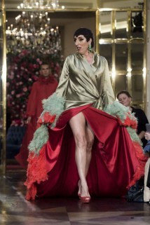 "Actress Rossy de Palma wears at collection runway a creation from "" Palomo Spain"" during Pasarela Cibeles Mercedes Benz Fashion Week Madrid 2017, in Madrid, on Thursday 14th September, 2017."
