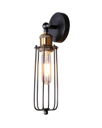 Rustic Style Matte Black Wall Sconce with Iron Cage ...