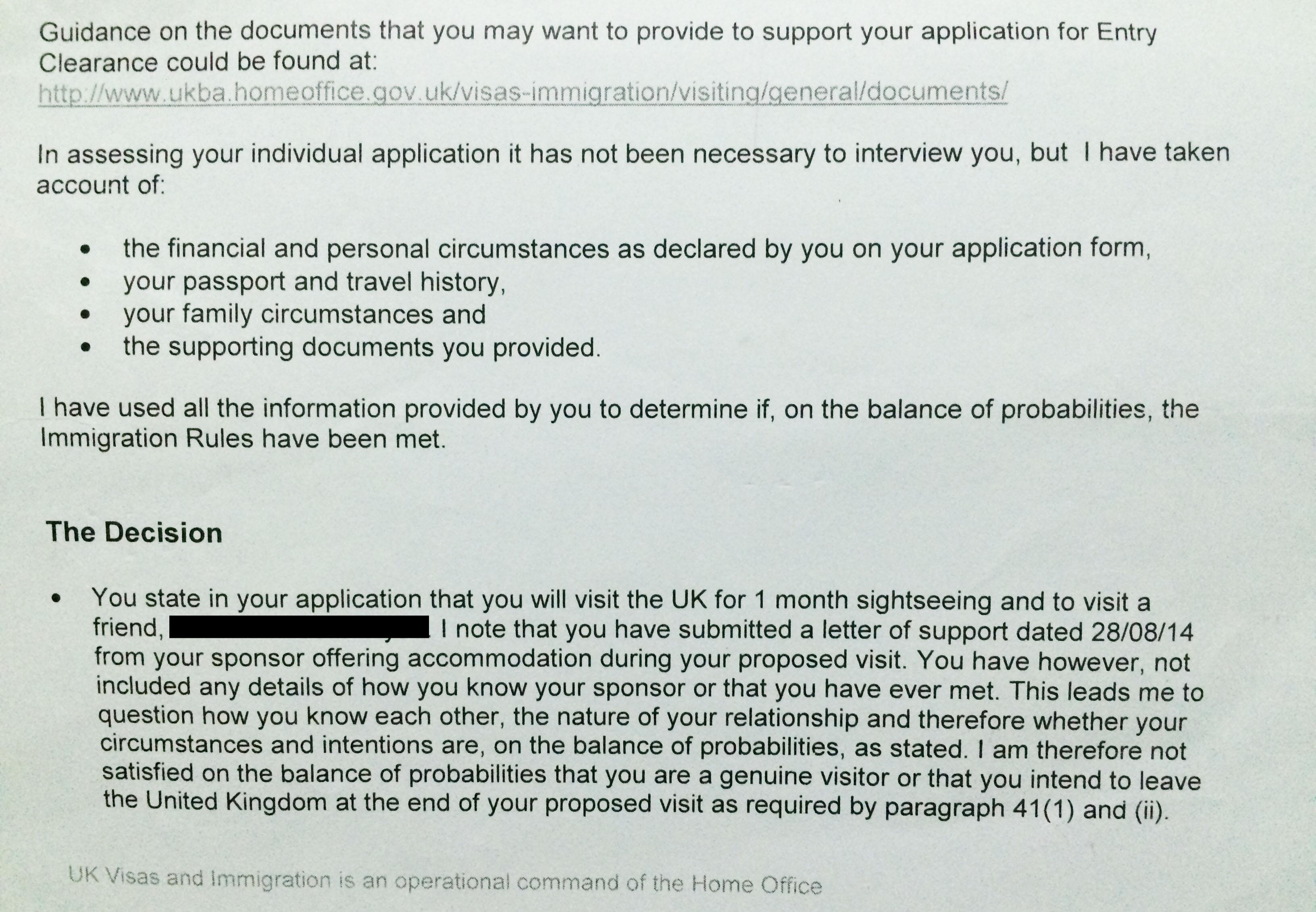 Sponsor Letter Sample For Uk Visit Visa | Resume Pdf Download