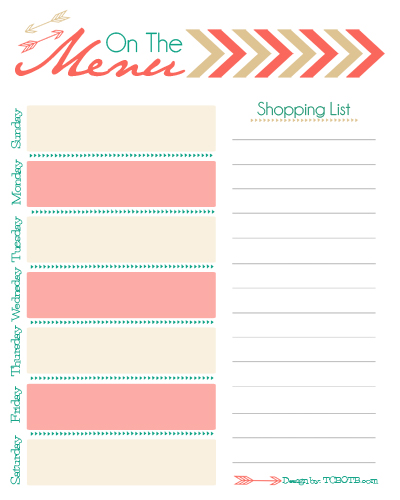 Free Menu Planner Free Menu Printable Free Menu Planner Download