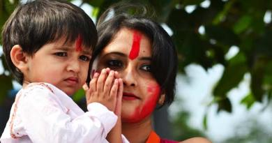 Beautiful Hindu mother and baby boy