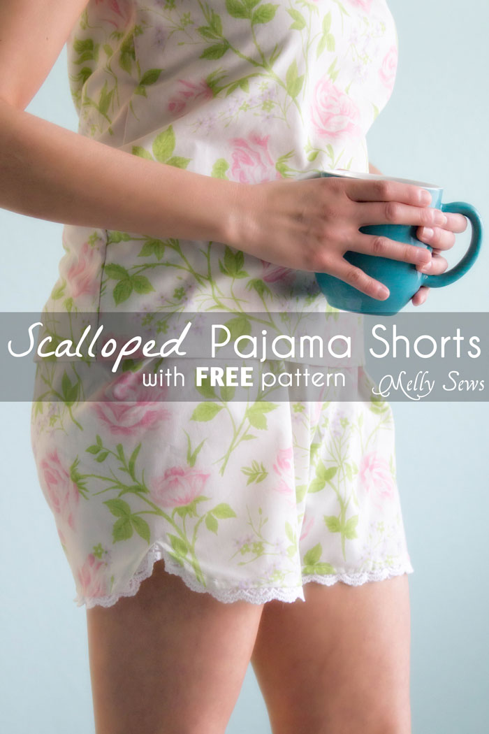 Sew Pajama Shorts with an easy tutorial and free pattern from Melly Sews