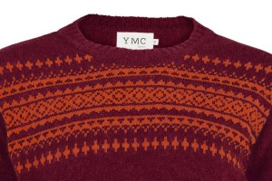 YMC Scottish Nordic Knit Jumper (Burgundy/Burnt Orange)