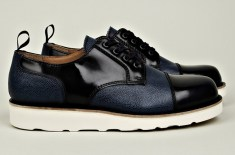 Carven Leather Mix Shoe (Blue/Black & Black)