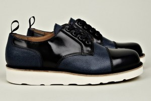 Carven Leather Mix Shoe (Blue/Black & Black)
