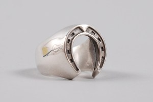 Dog State Silver Men's Horse Shoe Ring