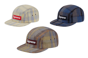 Supreme plaid linen camp caps