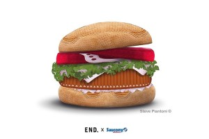 "END. x Saucony Originals Shadow 5000 ""Burger"" illustration by Steve Piantoni"