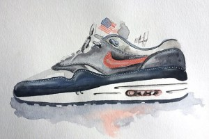Watercolour paintings of sneakers by Achildcolor