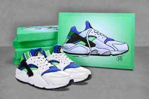 Nike Air Huarache 'Scream Green' Canvases by Tom Clapp for 5 Pointz