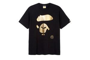 BAPE gold Face t-shirt for Selfridges
