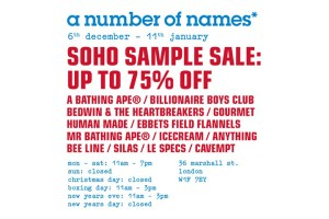 a number of names* Soho sample sale
