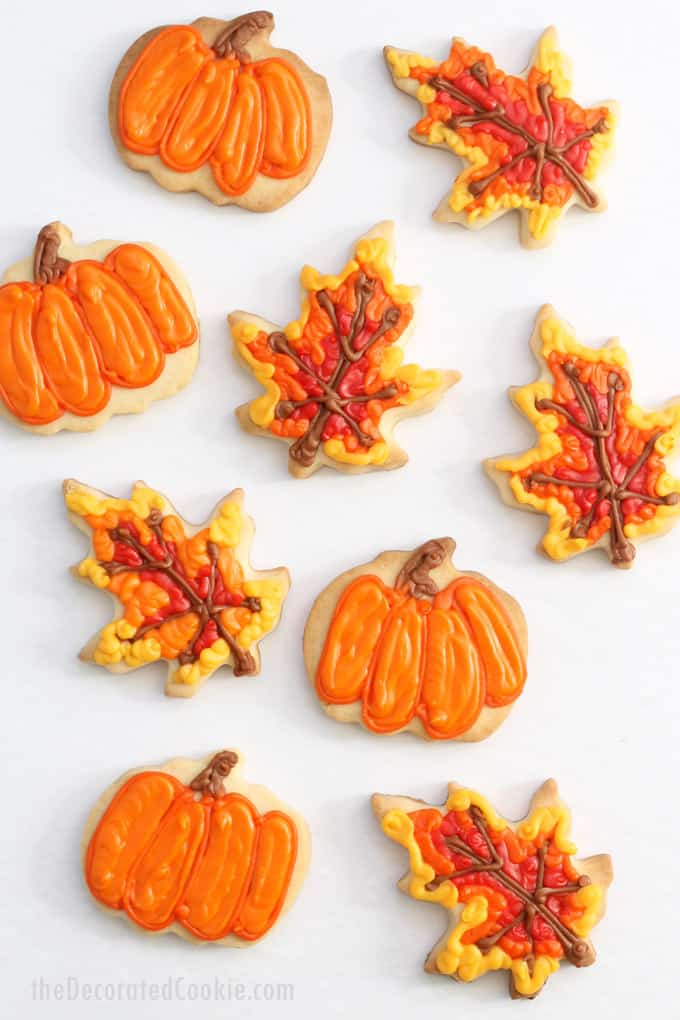 FALL COOKIES How to decorate pumpkin and leaf cookies