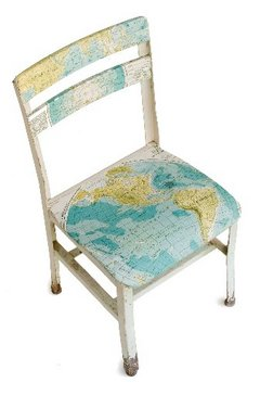 Map decoupaged chair via blog.nj  Decorating with Maps