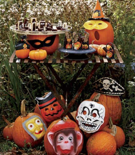 Masked Pumpkins via Country Living Easy Peasy Ways to Decorate a Pumpkin