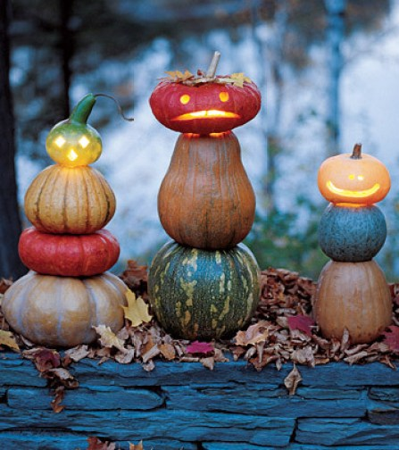 Stacked Pumpkins and Gourds via martha Easy Peasy Ways to Decorate a Pumpkin