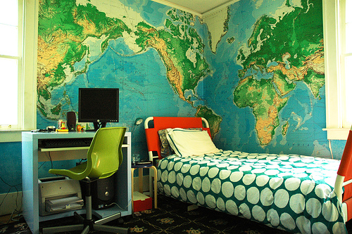 kbreenbos sons room wall maps Decorating with Maps