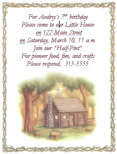 Little House Birthday Invitation Little House on the Prairie Party