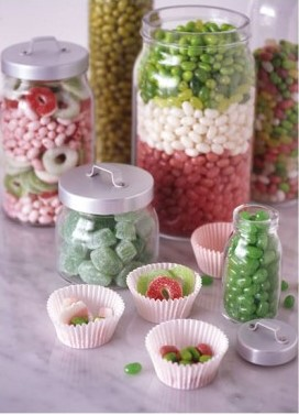 Christmas Candy in Jars via digsdigs Decorating with Candy