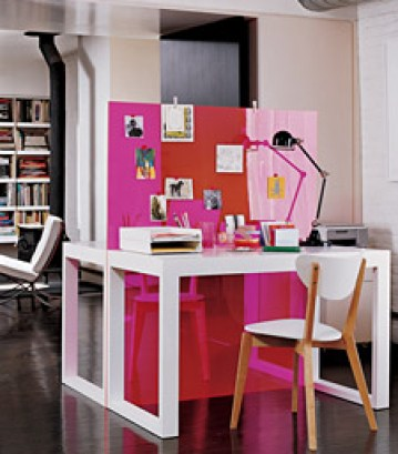 double desks with plexiglass panel by martha stewart Stylish Storage