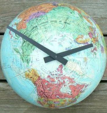 globe clock by imotime via rarebirdfinds.typepad Handmade Clocks