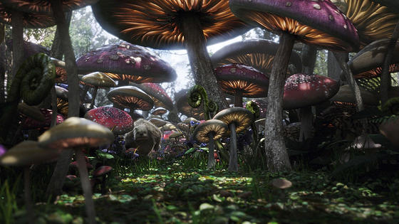 toadstools alice in wonderland via blog.movieset Tim Burtons Alice in Wonderland