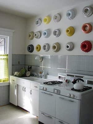 bundt pans on wall via jdorganizer Modern Wall Displays of Collections