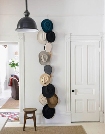 displaying hat collection via apartment therapy Modern Wall Displays of Collections