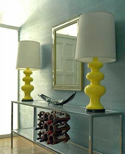 Yellow Lamps via apartment therapy Echo Jaipur Bedding