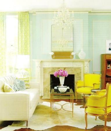 blue and yellow living room via decorpad A Fresh Take on Yellow and Blue Decorating