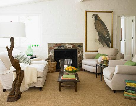 white living room via hb1 House Beautiful Living Rooms