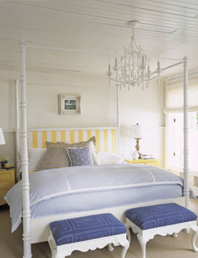 yellow and blue bedroom via thelennoxx files wordpress A Fresh Take on Yellow and Blue Decorating