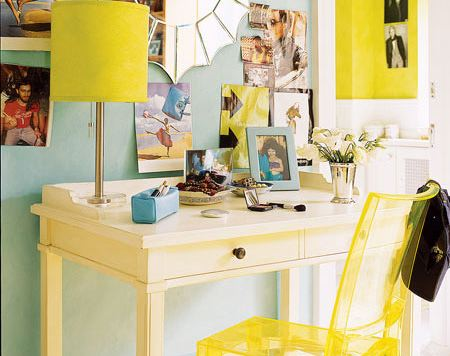 yellow and blue office via studioten25 files wordpress A Fresh Take on Yellow and Blue Decorating