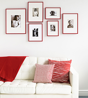 red picture frames via familycircle Ideas for Displaying Photos
