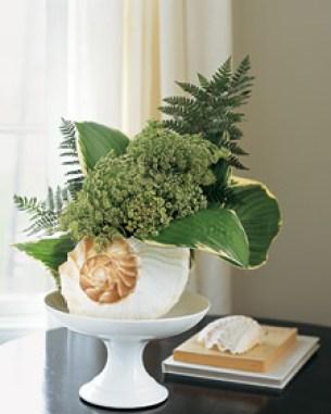 seashell floral arrangement via martha Decorative Ideas for Seashells