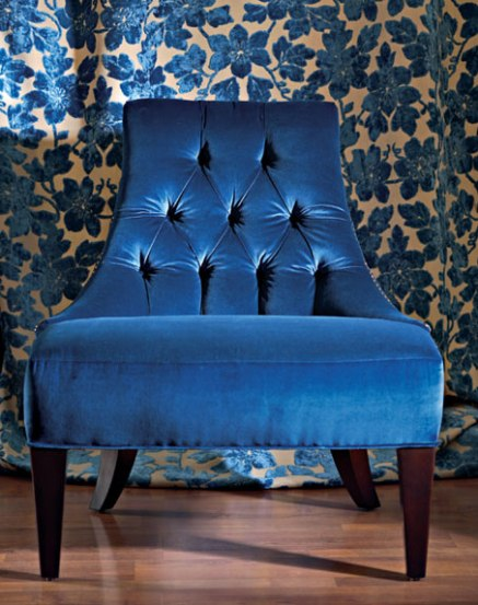 blue velvet chair by baker via traditional home Blue Velvet, Baby!