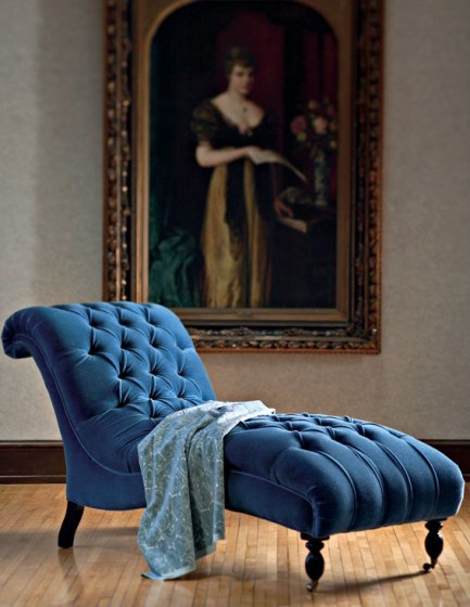 blue velvet chaise by mitchell gold via trad home Blue Velvet, Baby!