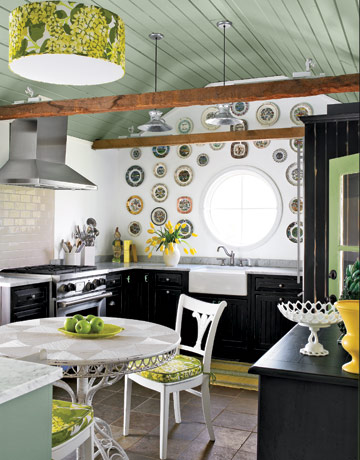 green and black kitchen via cl Inside a Renovated Schoolhouse